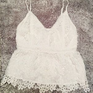 Embroidered white-floral top